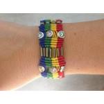 Rainbow Macrame Silver Bracelet