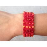 Red and Orange Macrame Bracelet