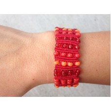 Red and Orange Macrame Bracelet