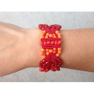 """Leaves"" Macrame Red and Orange Bracelet"
