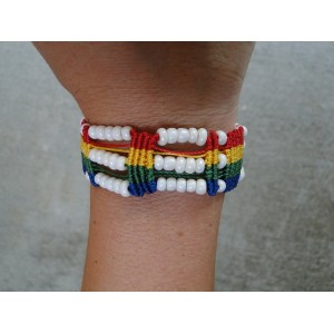 Rainbow Macrame White Bracelet