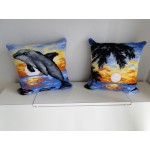 "Set of 2 beautiful hand cross-stitched pillows: ""Dolphin"" and ""Sunset in Tropics"""