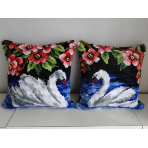 """Swans"" - Set of 2 beautiful hand cross-stitched pillows"