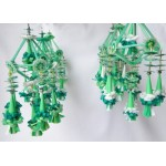 Set of 6 Folk Art Ornaments - Green