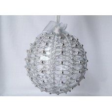 Crocheted Christmas decoration - silver ball