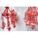 Set of 6 Folk Art Ornaments - Red