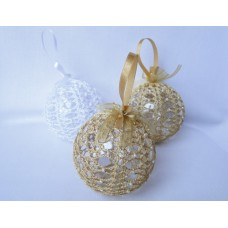 Set of 3 Crocheted Christmas decorations - gold and white