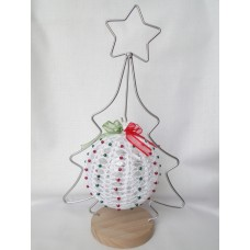 Crocheted Christmas decoration - white, red and green, hanging tree ornament
