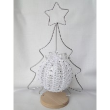 Crocheted Christmas decoration - white and silver, hanging tree ornament