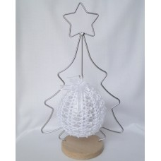 Crocheted Christmas decoration - white and pearl, hanging tree ornament
