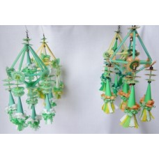 Set of 4 Folk Art Ornaments - Green