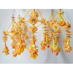 Set of 5 Folk Art Ornaments - Orange