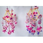 Set of 4 Folk Art Ornaments - Pink