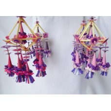 Set of 4 Folk Art Ornaments - Purple