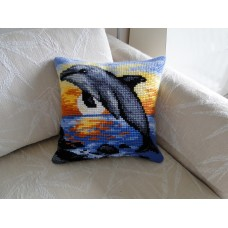 "Beautiful Cross-stitch pillow: ""Dolphin"""
