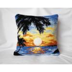 "Beautiful Cross-stitch pillow: ""Sunset in Tropics"""