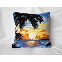 "Beautiful Cross-stitch pillow: ""Sunset in Tropics"""