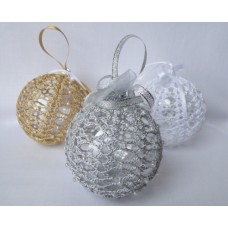Set of 3 Crocheted Christmas decorations - gold, silver and white